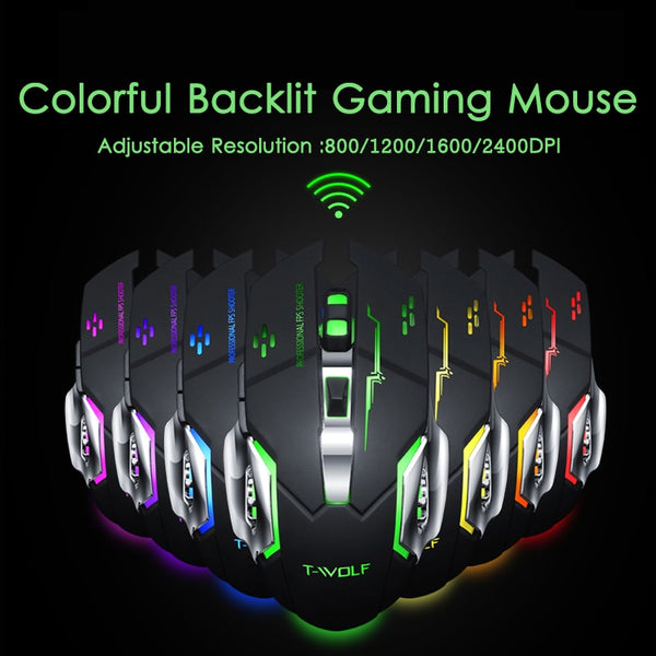 2.4GHZ Wireless Mouse 2400DPI Rechargeable Ergonomic Optical Gamer Mouse Mice 6 Buttons Gaming For MAC WINDOWS Laptop Desktop PC