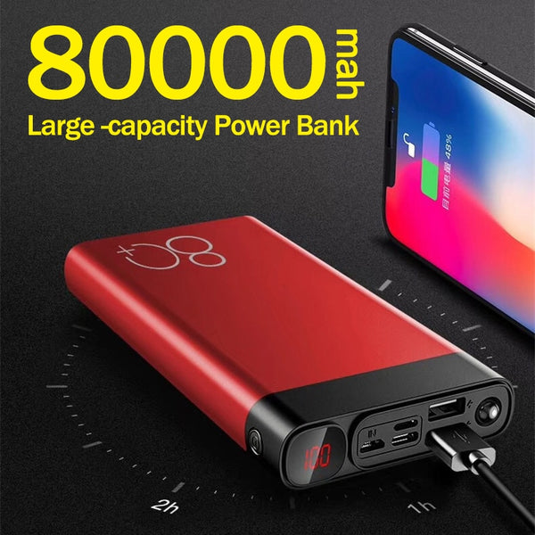 80000mAh Power Bank Portable Large Capacity Phone Charger for Xiaomi Mi IPhone Digital Display LED Lighting Travel PoverBank