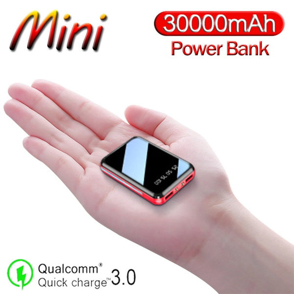 30000mAh Mini Portable Power Bank USB Charger Poverbank Charger External Battery Pack for Samsung Xiaomi Iphone Powerbank
