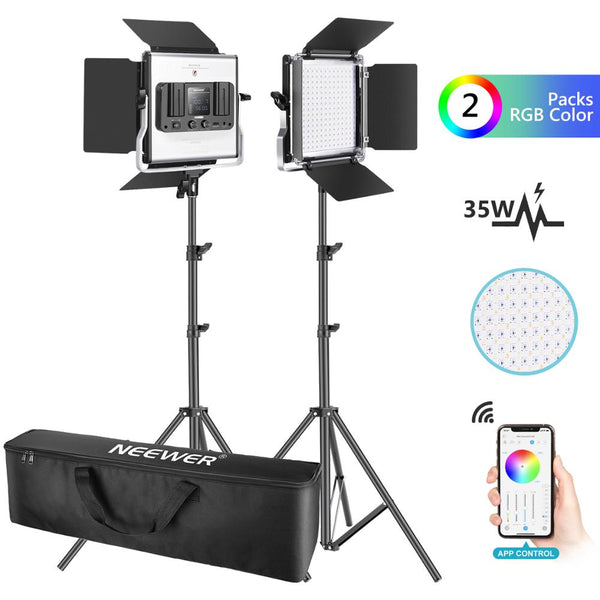 Neewer 2 Packs 530 RGB Led Light with APP Control, Photography Video Lighting Kit with Stands and Bag, 528 SMD LEDs CRI95