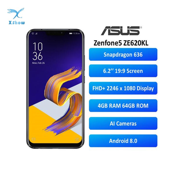 ASUS Zenfone 5 ZE620KL Smartphone Global Version 4GB 64GB Notch 6.2 Inch 19:9 FHD+ Android 8.0 12MP+8MP NFC 3300mAh Mobile Phone