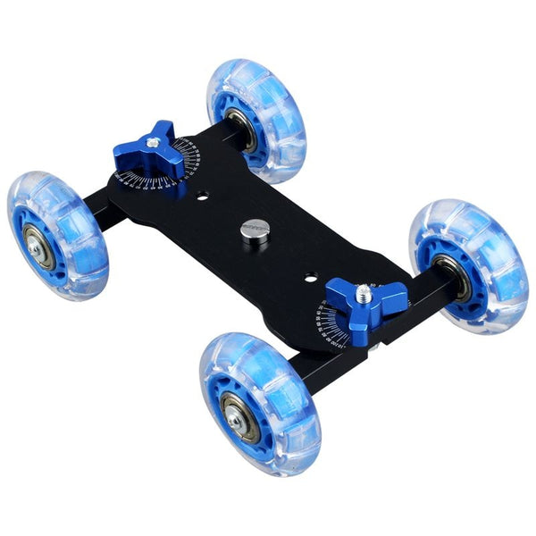 Table Top Dolly Mini Car Skater Track Slider Super Mute for DSLR Camera Camcorder (Blue & Black) (Blue)