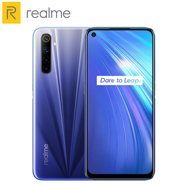 Global Version Realme 6 Mobile Phone 8GB RAM 128GB ROM 30W Flash Charge 64MP Camera 4300mAh Cellphone 90Hz Display Helio G90T