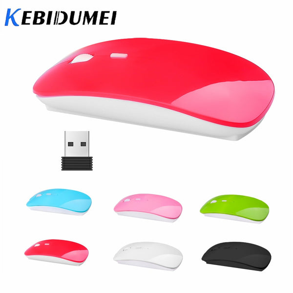 Kebidumei USB Optical 2.4G Wireless Mouse Receiver Super Ultra Thin Slim Mouse Cordless Mice for Game Computer PC Laptop Desktop