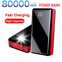 High Capacity 80000 mAh Power Bank Portable Travel Powerbank for Xiaomi / Samsung / IPhone Poverbank  Mobile Phone Fast Charger