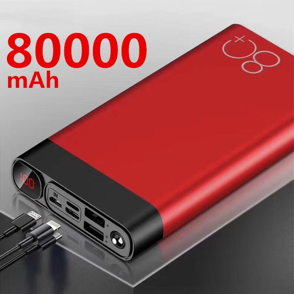 80000mAh Power Bank  Dual USB Large Capacity Fast Charging Portable Quick Charge Powerbank for IPhone Xiaomi Samsung