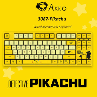 Original AKKO 3087 Yellow Wired Mechanical Gaming Keyboard with Cherry MX Switch 87 Keys PBT Computer Gamer Type-C Cable