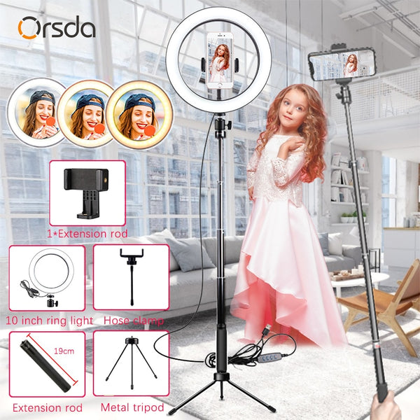 Orsda Led Ring Light with Tripods Stand Photography Dimming Video Live Youtube TikTok 10 Inch Selfie RingLight Phone Makeup 26cm