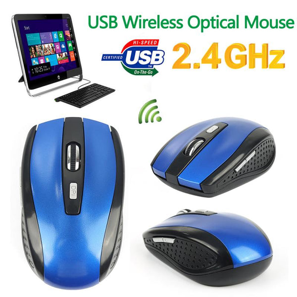 1pc Newest High Qulity 2.4GHz Optical Wireless Mouse USB Receiver Mice For Windows 2000/XP/Vista/Win 7/ (Blue)