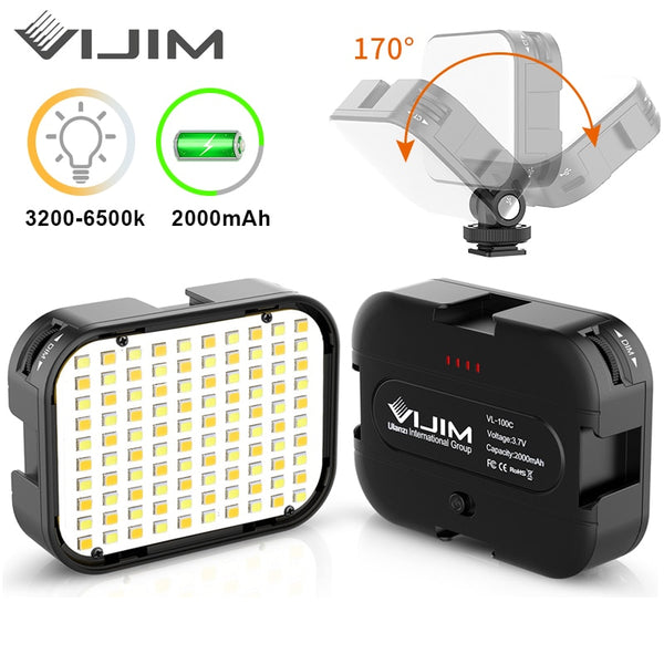 VIJIM VL100C DSLR LED Video Light Extend 3 Cold Shoe 170° Adjustable Ballhead Camera Photography Lighting Vlog Fill Light Lamp