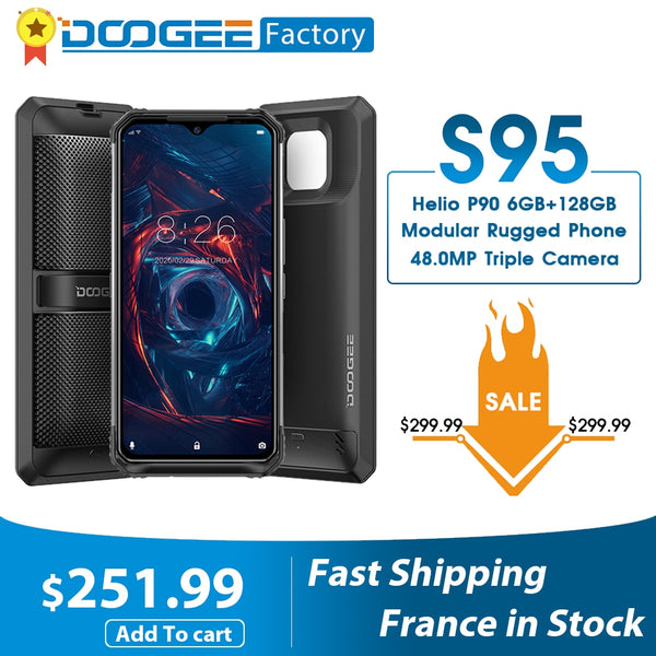 DOOGEE S95 Modular Rugged Mobile Phone 6GB 128GB Helio P90 Smartphone 48MP Triple Camera 6.3 inch Display 5150mAh Octa Core