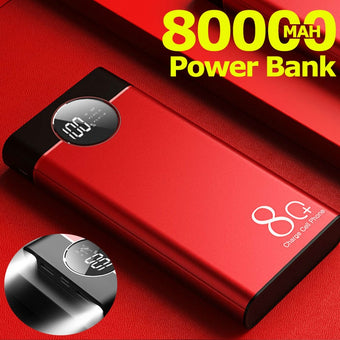 Power Bank 80000mah Large Capacity Portable Fast Charging for Iphone Xiaomi Samsung 2 USB External Battery PoverBank