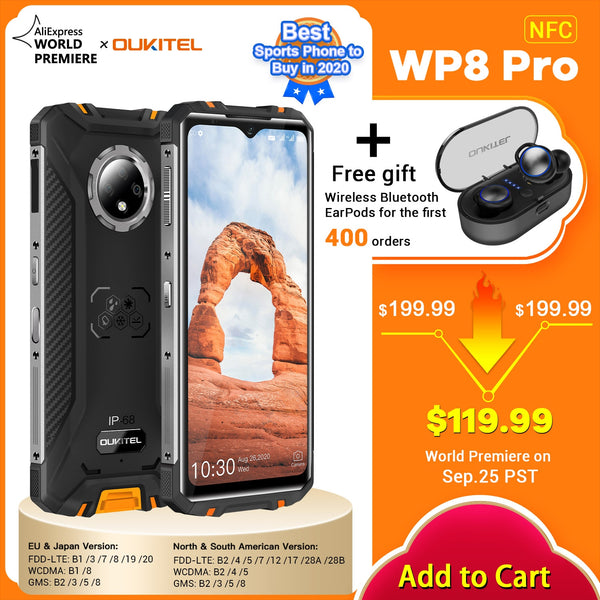 Newest OUKITEL WP8 Pro NFC IP68 Rugged phone mobile 6.49'' Display Fingerprint Android 10 4GB 64GB 5000mAh 16MP Triple Camera