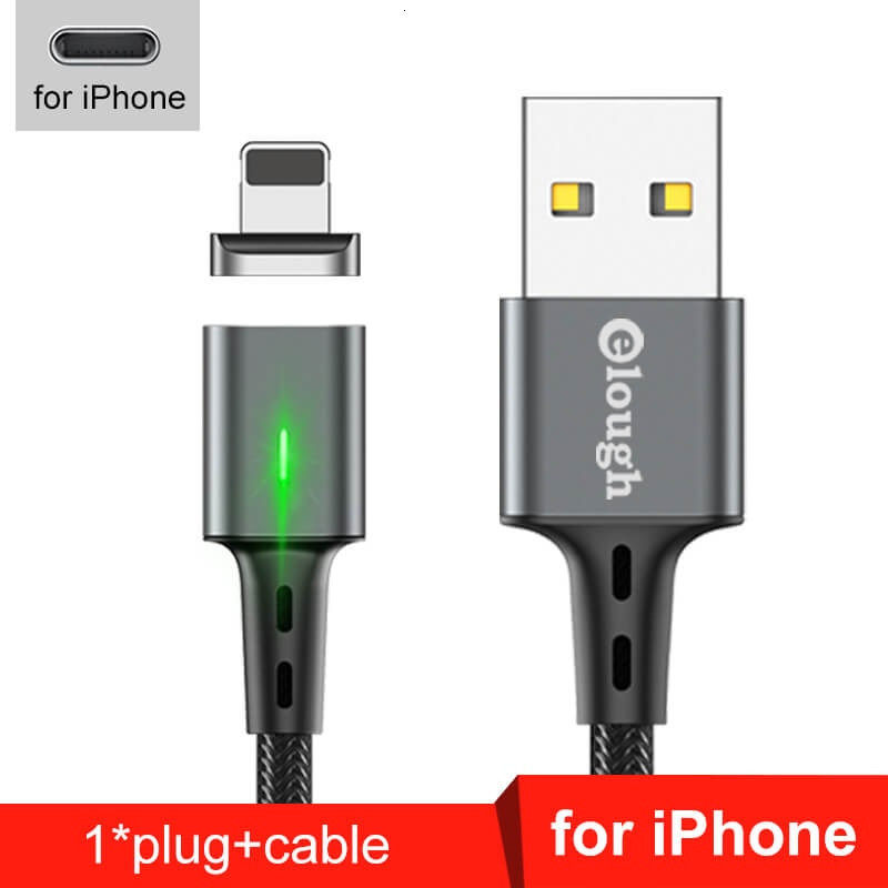Elough Quick Magnetic Charger 3.0 4.0 Micro USB Cable for iPhone Samsung Xiaomi Fast Magnetic Phone Charging Cord Type C Cable