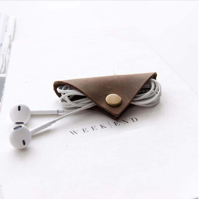 Genuine Leather Earphone Cable winder wrapped Cord Line Plug Bobbin Winder Clip Holder Wrap Wire Organizer wirding thread tool