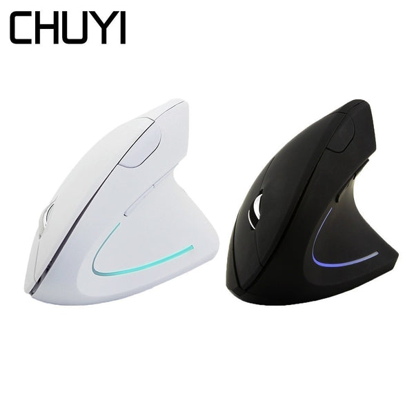 CHUYI Ergonomic Vertical Wireless Mouse Computer Colorful LED Gaming Mice 1600DPI USB Optical 5D Healthy Mause With Mouse Pad