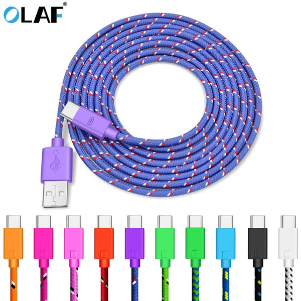 OLAF USB Type C Cable for Samsung Galaxy S10 9 Fast Charging Data Cable for Huawei Mate 20 Pro Mobile Phone Charger Cord USB-C