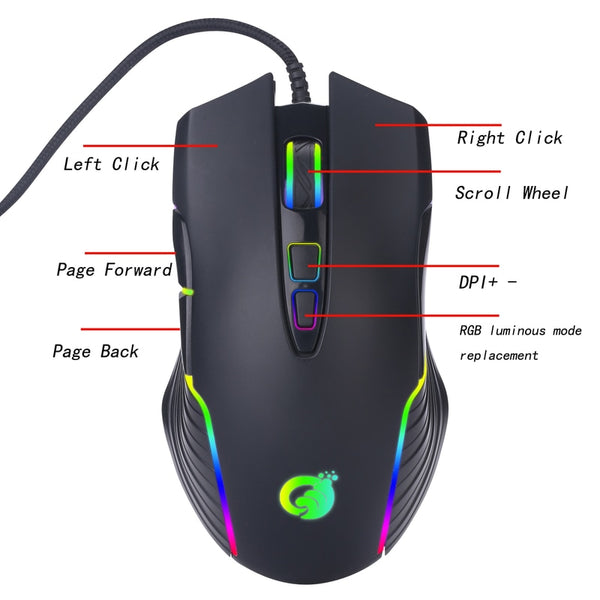 Newest G4 USB Wired Mouse RGB Marquee Macro Programming Gaming Mouse Computer External Device for Laptop Office Video Game (Black)