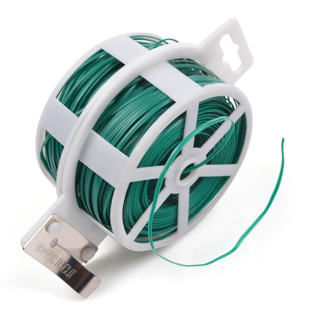 328 Feet (100m) Green Multi-Function Sturdy Garden Plant Twist Tie with Cutter/ Cable Tie/Zip Tie/ Coated Wire (4 colors choose)