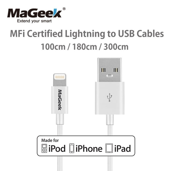 MaGeek 1m 1.8m 3m Mobile Phone Cables MFi Certified Lightning to USB Cable for iPhone Xs Max X 8 7 6 5 iPad Air iOS 12 11