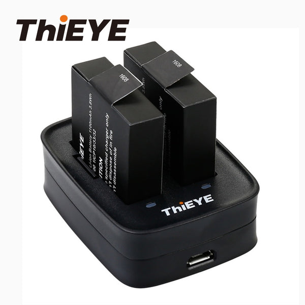 Dual Battery Charger for ThiEYE T5 Edge /T5Pro/8k  Action Camera Battery Accessories Can Quickly Charge Two Li-on Batteries (Black Standard)
