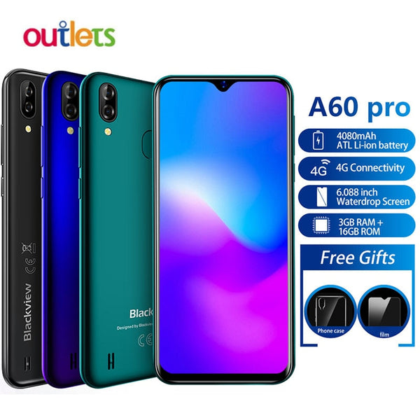 Blackview A60 Pro Waterdrop Screen Smartphone MTK6761 3GB 16GB Android 9.0 Cellphone 4080mAh Fingerprint Face ID 4G Mobile Phone