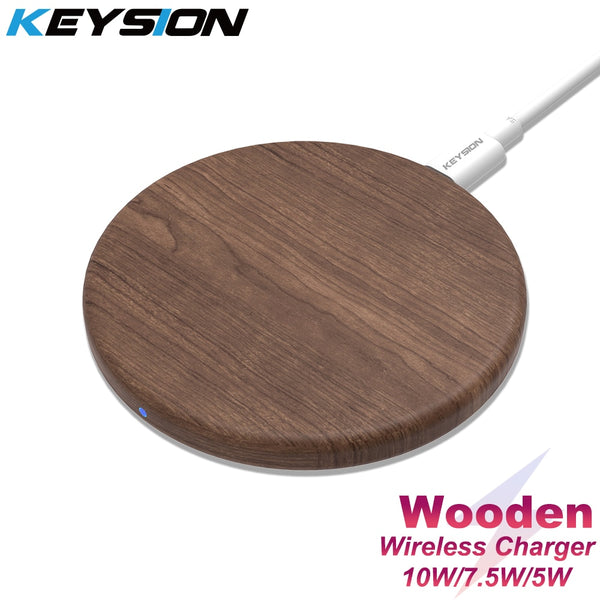 KEYSION 10W Qi Fast Wireless Charger for iPhone 11 Pro XS Max XR 8 Plus Wooden Wireless Charging Pad for Samsung S20 S10 S9 S8 (Brown)