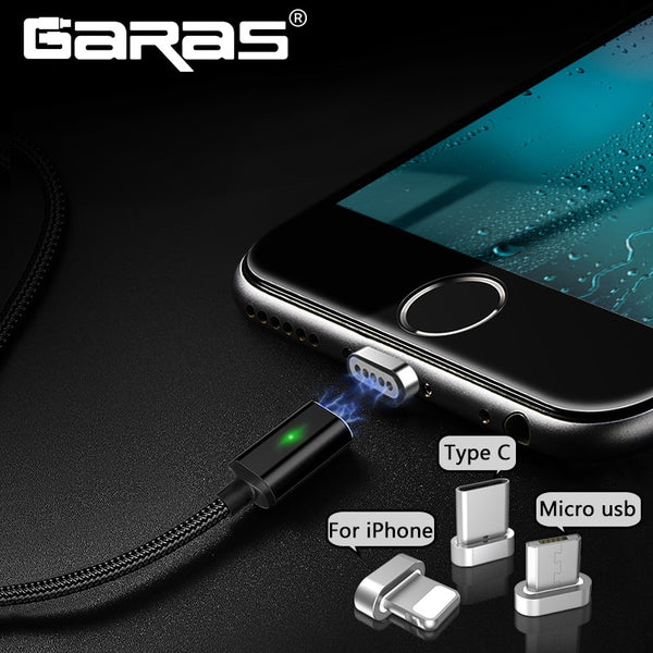GARAS Magnetic Cable Micro USB/Type C Charger Adapter Plug Magnet Fast Charging Mobile Phone Cables 2m