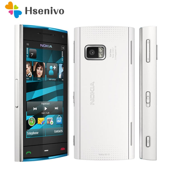 X6 100% Original Nokia X6 original phone unlocked quad band FM Radio GSM SymbianRAM 128MB ROM 16GB cellphone refurbished