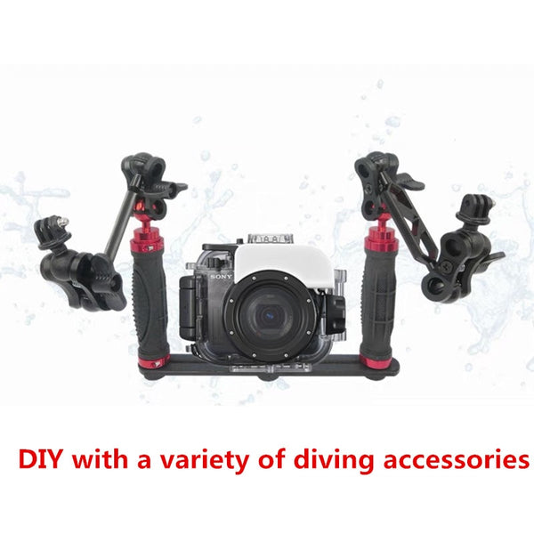 Handheld Handle Hand Grip Stabilizer Rig Underwater Scuba Diving Dive Tray Mount / LED Light for Go pro Camera SJCAM Smartphone
