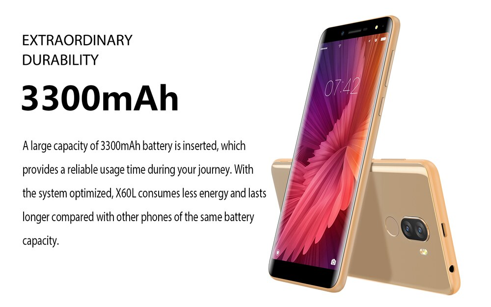 "DOOGEE X60L 4G LTE Smartphone 2GB 16GB 5.5"" 18:9 Android 7.0 MTK6737 Quad Core 13.0MP Dual Rear Cameras 3300mAh Mobile Phones"