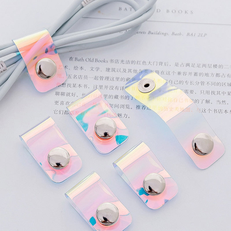 Laser transparent cartoon desktop phone cord winder headset clip charger manager management wire holder silicone seat