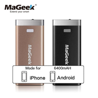 MaGeek Power Bank 6400mAh External Backup Battery Portable Backup Power for iPad iPhone Samsung HTC LG Cell Phones