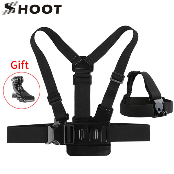 SHOOT Adjustable Harness Chest Strap Head Strap Belt for GoPro Hero 8 7 6 5 Black Xiaomi Yi 4K Sjcam Sj4000 Go Pro 7 8 Accessory
