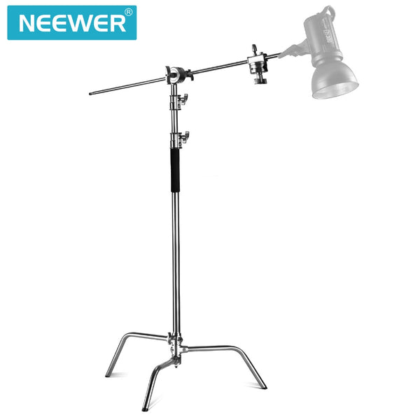 Neewer Photo Studio Lighting Stand Heavy Duty 10 feet/3 meters Support Stand with 4 feet/1.2 meters Hold Arm and Grip Head Kit
