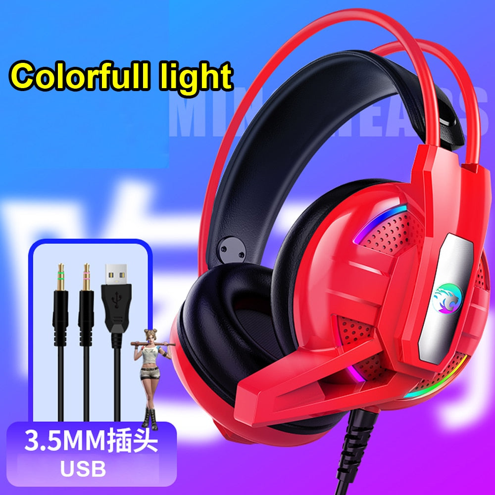 Joinrun Headphone Stereo Headset Internet cafe Gaming Earphones with Microphone for PC Mobile Phone Game