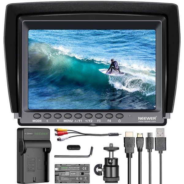 Neewer F100 7-inch 1280x800 IPS Screen Camera Field Monitor Kit: Support 4k input with 2600mAh Rechargeable Li-ion Battery Pack