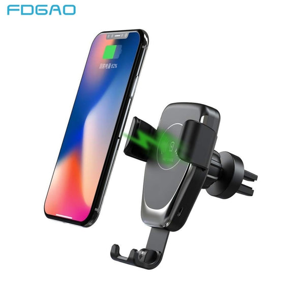 FDGAO 10W Car Mount Wireless Charger for iPhone 11 Pro XS Max XR X 8 Quick Qi Fast Charging Car Phone Holder For Samsung S10 S9 (Black)
