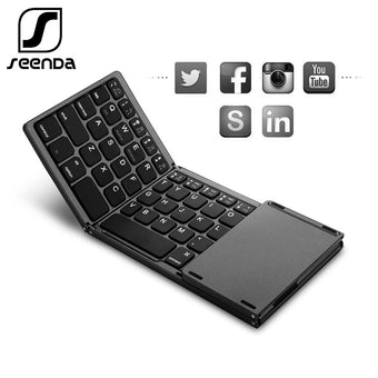SeenDa Folding Wireless Bluetooth Keyboard Rechargeable Keypad with Touchpad Mini Keyboard for IOS/Android/Windows iPad Tablet