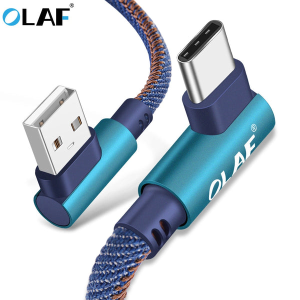 OLAF 2m USB Type C 90 Degree Fast Charging usb c cable Type-c data Cord Charger usb-c For Samsung S8 S9 Note 9 8 Xiaomi mi8 mi6