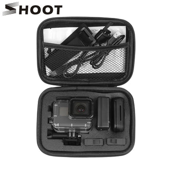 SHOOT Portable Small EVA Action Camera Case for GoPro Hero 8 7 6 5 Black Xiaomi Yi 4K Sjcam Sj4000 Eken H9r Box Go Pro Accessory (Black Color)
