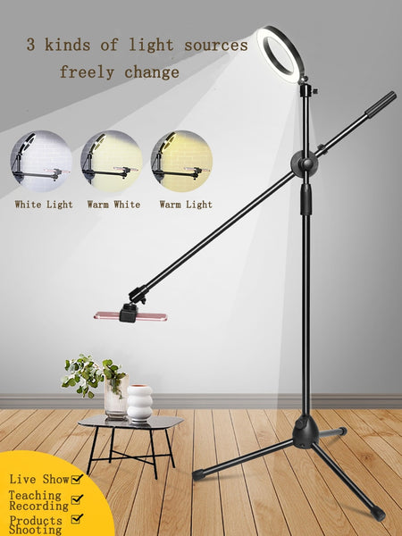 Dimmable Beauty LED Fill Light Ring Lamp+Adjustable Phone Photography Shooting Bracket Stand+Boom Arm Photo Studio Kits for Live
