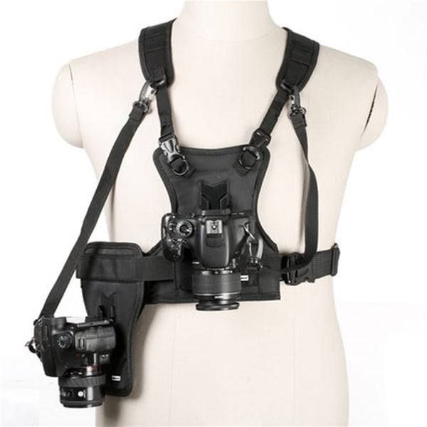 Camera Vest Multi Camera Carrier Waist Strap Belt Carrier Harness Holster System Soft Padded Strap Photographer Vest SK-MSP01