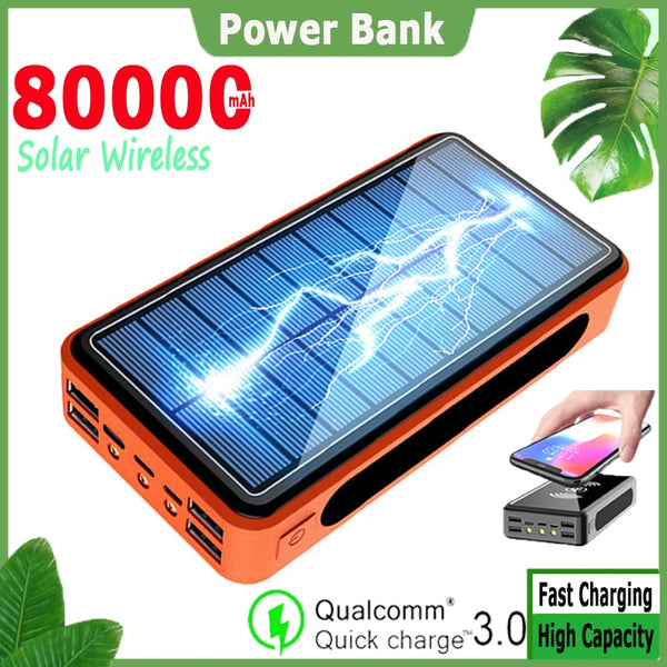 Solar Power Bank 80000mAh Solar Panel Waterproof and Dustproof Outdoor Emergency 3 LED Charger for Xiaomi Samsung Iphone