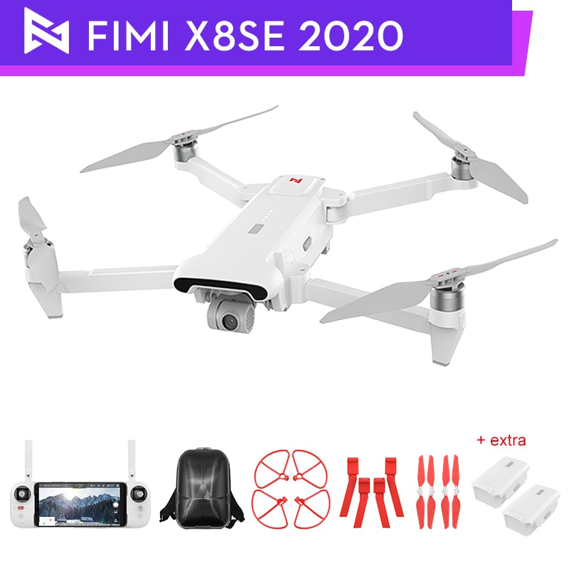 Original FIMI X8 SE 2020 Drone with 3-axis Gimbal 4K HD Camera 5KM FPV 33mins Flight RTF Battery Shoulder Bag Landing Parts