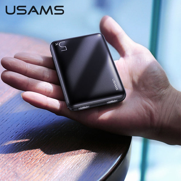 USAMS 5000mAh Mini Power Bank for iPhone Samsung Xiaomi Ultrathin Dual USB Fast Charging Powerbank Moblie Extenal Battery Bank