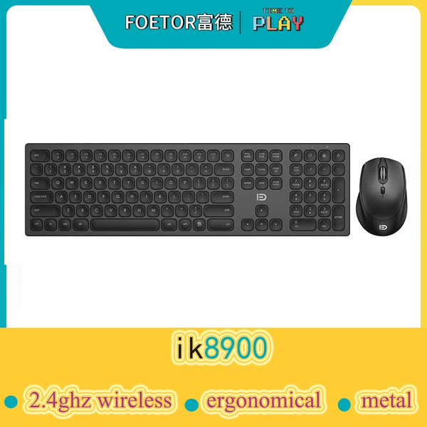 Alumium metal Wireless 2.4Ghz keyboard full Size 110 keys,  Ergnomical design and silent keyboard and mouse kits wireles