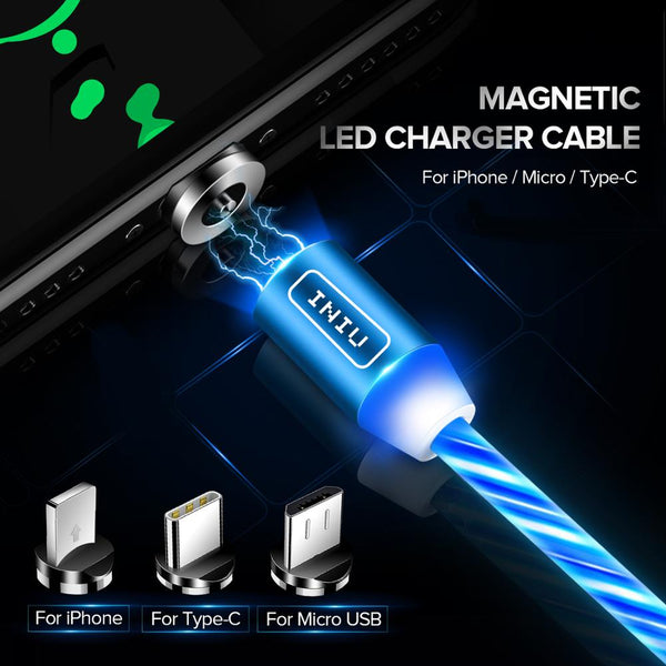 INIU LED Lighting Magnetic USB Phone Cable For Micro Type C Charger Fast Charging Magnet Charge Cord For iPhone 11Pro XR 8 Plus