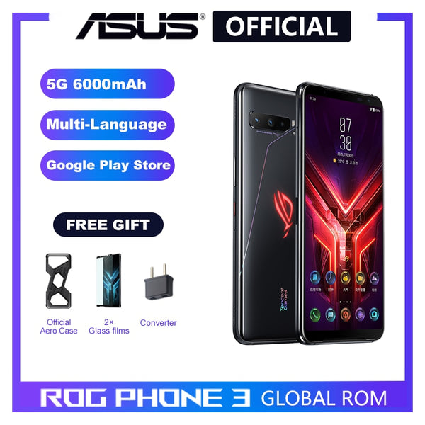 ASUS ROG Phone 3 5G Smartphone Snapdragon 865/865Plus 128GB 256GB Rom 6000mAh NFC Android Q 144Hz FHD+ AMOLED Gaming phone ROG3