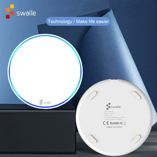 Swalle Wireless Charger for iPhone Xs Max X 8 Plus Fast Charging Pad for Samsung Note 9 Note 8 S10 Plus USB Qi Charging Pad (White)